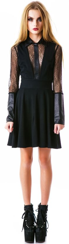 For Love & Lemons Innocent Dress features a beautiful black crochet knitted shell with a high neckline with faux leather collar and slim fitted body for all you dark Mercy babez! The knit on this badazz dress is totally see-through on top and comes with black paneling so you aren't giving away the goodiez for free. Long knitted sleeves are finished with long faux leather cuffs, zipper back closure for ease of access, with a mid length pleated black skirt