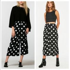 The Fifth High Road Polka Dot Culottes The High Road Pant is a wide leg, mid-waist, cropped pant with a pleated wrap over at the waist and front invisible zip in a lightweight fabric and The Fifth's exclusive polka dot print. Posting more pics shortly Urban Outfitters Pants Wide Leg