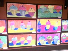 Thiebaud cupcakes-grade 3 (Portfolio water soluble oil crayons are the best!)