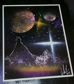 Spray Art by DCP - Beginner-Level Space Scene - Mountains / Stars / Planets Spray Paint Art, Spray Painting, Painting Art, Spray Can, Graffiti Art, Markers, Ale, Planets, Street Art