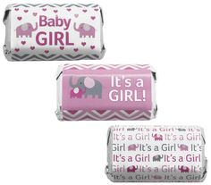 Pink and Gray Elephant Baby Girl Shower Favors Stickers for Hershey's Miniatures Candy Bars (Set of 54)