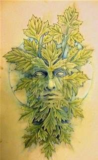 Greenman and Moon by Knotty Inks