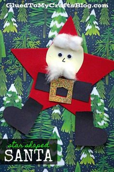 Welcome Christmas into your home this holiday season with our SUPER EASY Craft Foam Star Shaped Santa kid craft idea! Santa Crafts, Winter Crafts For Kids, Craft Projects For Kids, Foam Crafts, Easy Crafts For Kids, Holiday Crafts, Craft Foam, Crafts Cheap, Craft Ideas