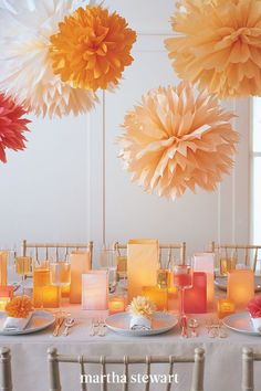 These dahlia-like bursts of color hang from the ceiling, adding charm to any party. Our tissue paper pom-poms can be made in the size and color of your choice. #marthastewart #crafts #diyideas #easycrafts #tutorials #hobby Under The Sea Decorations, Cheap Party Decorations, Diy Birthday Decorations, Baby Shower Decorations, Wedding Decorations, Wedding Ideas, Paper Decorations, Holiday Decorations, Paper Garlands