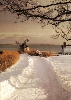 Chatham windmill in snow. This is the Sur Mer windmill on Shore Road. It was originally located by Cockle Cove Rd in South Chatham and was moved to its current location circa Winter Cape, I Love Winter, Winter Snow, Winter White, Beautiful World, Beautiful Places, Winter's Tale, Winter Scenery, Snow Scenes