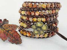Autumn Woodland Leather Wrap Bracelet rustic by WrappedInLeather, $72.95
