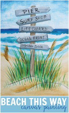 Social Artworking: Beach, this way! Beach Canvas Paintings, Canvas Painting Designs, Easy Canvas Painting, Easy Paintings, Byob Painting, Canvas Art, Beach Scene Painting, Summer Painting, Pictures To Paint