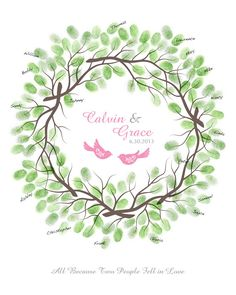 thumbprint guest book | Wedding Thumbprint Wreath Guest Book Alternative with Ink Pads, Family ...