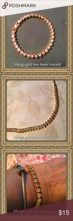 Vintage gold tone tennis bracelet Vintage gold tone tennis bracelet, no hallmark, beautiful piece still shines brilliant! Nice bracelet, with crystal stones Vintage Jewelry Bracelets