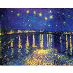 Vincent Van Gogh (Starry Night Over the Rhone) Starlight Art Poster Print - 16x20