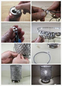 DIY lamp with can openers.