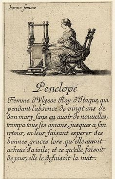 Penelope, in Greek myth, the faithful the wife of Ulysses, shown seated weaving at a loom; from a French pack of 52 playing cards, Jeu des Reynes Renommées, 1644; Penelope is the symbolic personification of the 'bonne femme'/good wife. (British Museum)