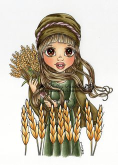 Ruth - Harvest Is Ready Digital Digi Stamp Cute As A Button Stamps Art/Crafts by Francesca Lopez #cardmaking #art #artwork #drawing #digi #digistamp #craft #card #cards #copic #lineart #drawing #coloring #illustratedfaith #faithart #biblejournal #biblejornaling #faith #school #work #bookmarks #bible #winter #holidays #christmas #summer #love #newyear #fall #autumn #spring http://cute-as-a-button-stamps.myshopify.com