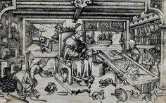 """St Eligius in his studio"". Master of Balaam. Circa 1450. Ink on paper/engraving. From Rijksmuseum."