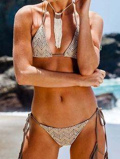 Lace Plain Color Tassels Bikini Set