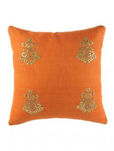 Rust Orange Floral Gota Patti Cushion Cover - 16in x 16in
