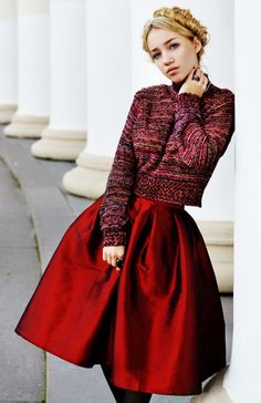 Red, red skirt, skirt choies, hairstyle with braids, Aksinya Air, sweater inlovewithfashion