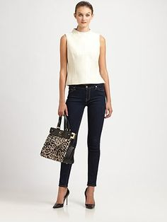 White leather shell by Milly. Perfect transition piece for fall.