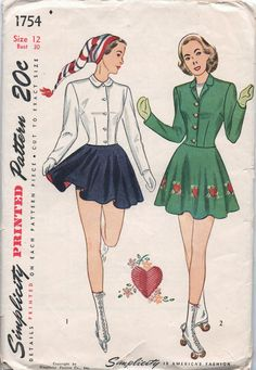 VERY RARE 1940s vintage pattern Simplicity 1754 size 12 bust 30 waist 25 hip 33 Junior Misses and Misses Three Piece Skating Ensemble. $9.99, via Etsy.