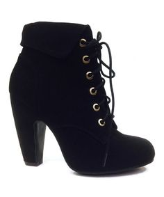 Another great find on #zulily! Black Mozza Lace-Up Bootie #zulilyfinds