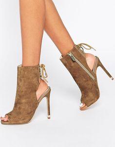 ed5d6a98de91 Carvela Taupe Suede Peep Toe Shoe Boot Chaussures Compensées