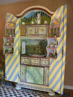 Mackenzie-Childs - Kitchen in an Armoire Whimsical Painted Furniture, Hand Painted Furniture, Funky Furniture, Colorful Furniture, Paint Furniture, Furniture Making, Furniture Makeover, Armoire Makeover, Furniture Online