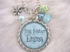 BIG SISTER Necklace Personalized Name Bottle cap Pendant Necklace, New Baby, New mother Jewelry, gift present  by My Blue Snowflake on Etsy. $15.50, via Etsy.