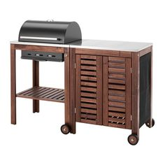 ÄPPLARÖ / KLASEN Charcoal grill with cabinet, brown stained, stainless steel color brown stained/stainless steel color