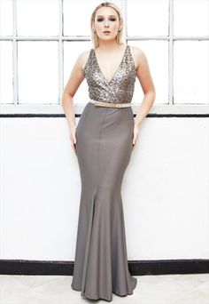 DEMI+LUX+fishtail+sequin+evening+gown
