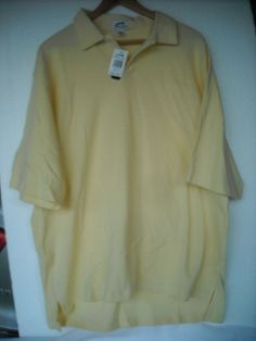6f6ff7659a6 Mens Slazenger Polo Golf Shirt Large NWT Pale Yellow SOFT MSRP 50 100%  Cotton #