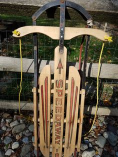 Vintage Speedaway ( Speedway) Gladding Wooden Sled with Steel Frame and Runners - Contact me for Shipping Rate - not free by PastBack on Etsy