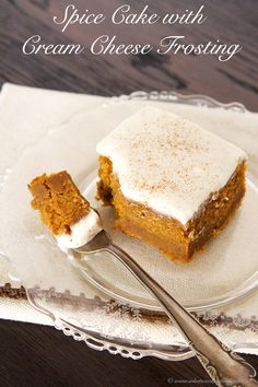 Spice Cake with Cream Cheese Frosting is exactly what you have been searching for #holiday #desserts YUMMO!  by www.whatscookingwithruthie.com #recipes