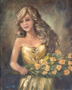 FINEARTSEEN - View Figure in Gold by Sue Cervenka. A beautiful original female portrait painting. The Home Of Original Art. Enjoy Free Delivery with every order. >