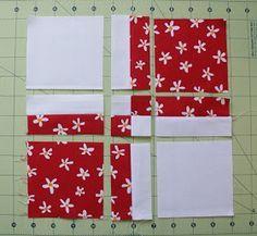 El caso es trabajar menos... increible lo que saca de los 4 cuadros ! andie johnson sews: Disappearing 4-patch Tutorial
