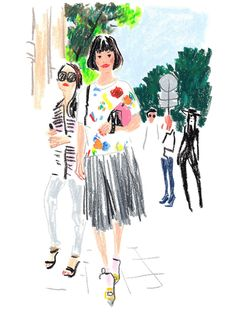 The Models, Editors and Street-Style Stars of Men's Fashion Week in Paris, Illustrated