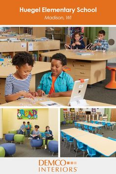 Mobile furniture and flexible arrangements helped create multifunctional spaces for Huegel Elementary library users to read, create, collaborate and learn.