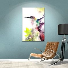 """House of Hampton Hummingbird Painting Print on Wrapped Canvas Size: 18"""" H x 14"""" W x 2"""" D"""