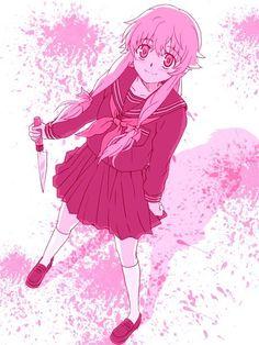 Mirai Nikki Yuno Gasai- It's paint.not someone else's blood. Yandere Manga, Yandere Girl, Animes Yandere, Rwby Anime, Corpse Party, Manga Girl, Anime Girls, Asuna, Yuno Mirai Nikki