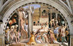 Incendio di Borgo, Raffaello Sanzio, 1514, affresco. Stanze vaticane, Città del Vaticano.
