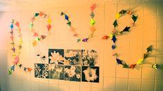 Origami art in a Goshen College dorm room