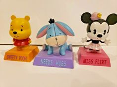 "Disney Store Minnie, Pooh, Eeyore Figurine ""Sweety Pooh, Miss Flirt, Needs Hugs"" Eeyore, Tigger, Disney Princess Aurora, Drawing Bag, Animal Hats, Disney Winnie The Pooh, Plush Animals, Plush Dolls"
