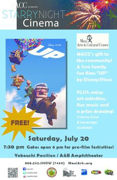 "Kahului, HI MACC's gift to the community! Featuring the film ""UP"" by Disney/Pixar Entertainment, a sure-fire heart-winner for whole family. A grumpy widower finds a way to fulfill his dreams of travel and still … Click flyer for more >>"