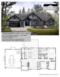 Sauvignon Expand garage to 2 car] Create desk/office space behind kitchen] Master bath needs rethinking Best House Plans, Dream House Plans, Small House Plans, House Floor Plans, Prefabricated Houses, Craftsman House Plans, Modern Bungalow House Plans, Bungalow Floor Plans, House Blueprints