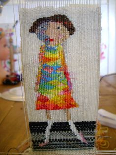This is one of my new tapestries It's tiny. Rachel hine, Woven Tapestry, Cotton, lurex and silk - I'd love to do something fun like this