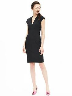 Black Lightweight Wool Vee Sheath | Banana Republic.  I like that the zipper on this dress goes all the way up/down.  A nice addition to a basic dress.  Would like in a different color (wine colored, for example) as I have a lot of black dresses already.
