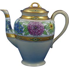 Gerard, Dufraisseix & Abbott (GDA) Limoges Arts & Crafts Floral Motif Coffee Pot/Teapot (Signed 'The Studio'/c.1900-1941)