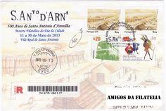 Carta registada com carimbo comemorativo alusivo aos 500 anos de Santo António de Arenilha