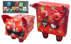 Art Projects for Kids: 'Ugly' Paper Mache Monsters from juice boxes.