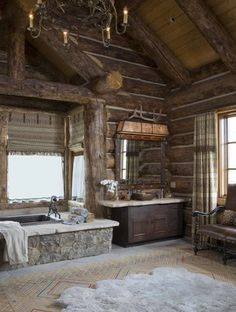 Beautiful Western ranch house ideas Rinfret, Ltd. Beautiful Western ranch house ideas Rinfret, Ltd. was last modified: February 2014 by admin Log Home Bathrooms, Rustic Bathrooms, Cozy Bathroom, Master Bathroom, Log Cabin Homes, Log Cabins, Mountain Cabins, Boho Home, Western Homes