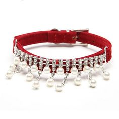 Fashion Luxury Female Pet Dog Collar Bling Rhinestone Pearl Necklace for Cats,Crystal Wedding Jewelry Accessories for Small Dogs